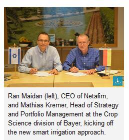 Bayer and Netafim develop new smart irrigation approach